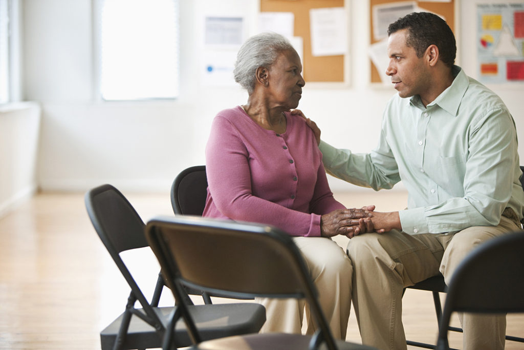 social worker counseling patient